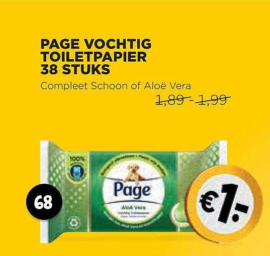 Jumbo Page Vochtig Toiletpapier 38 Stuks Compleet Schoon Of Aloë Vera