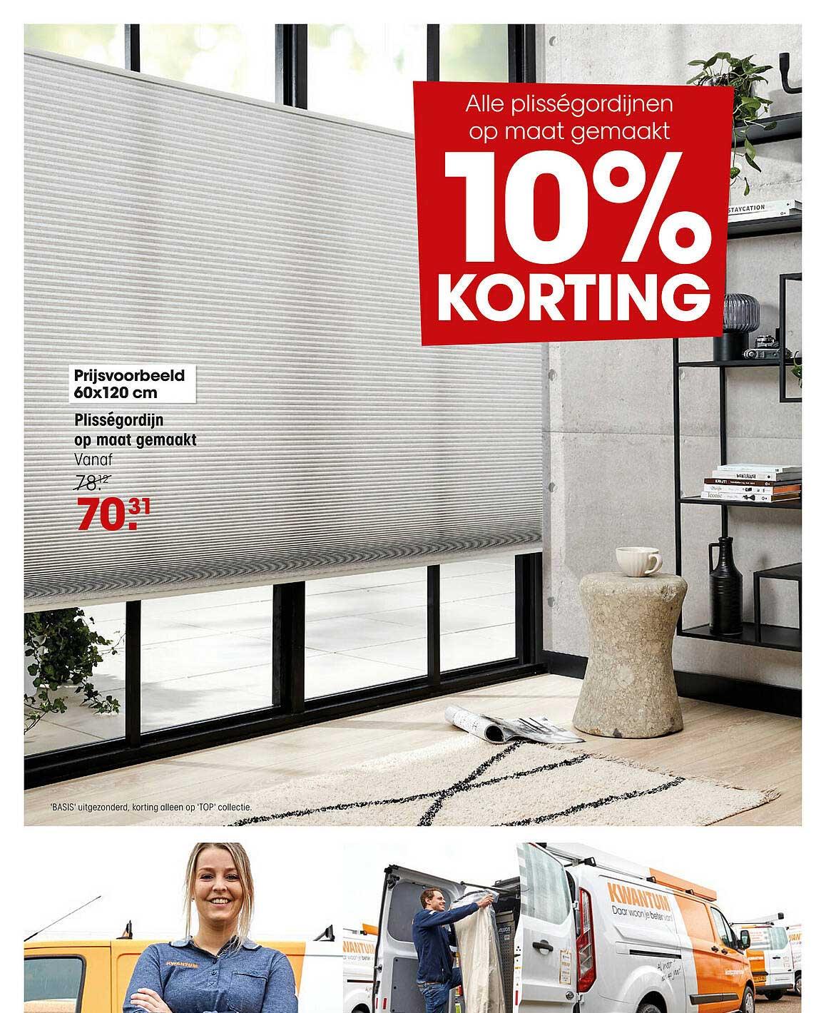 Kwantum Plisségordijn Op Maat Gemaakt 10% Korting