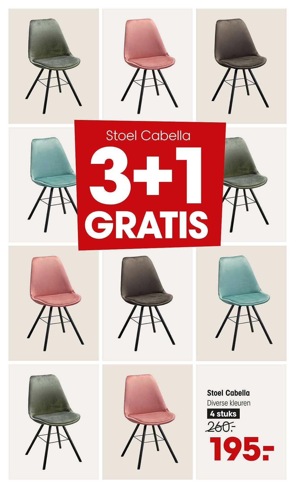 Kwantum Stoel Cabella 3+1 Gratis