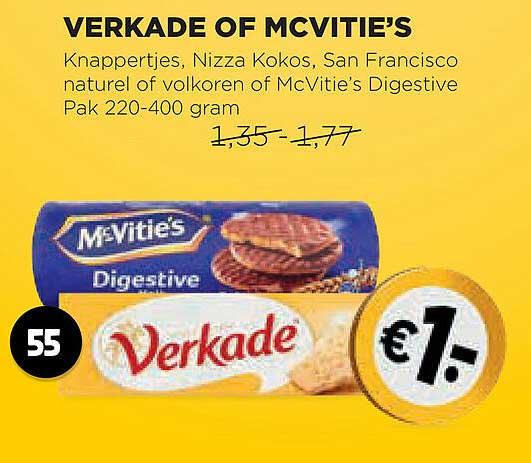 Jumbo Verkade Of Mcvitie's Knappertjes, Nizza Kokos, San Francisco Naturel Of Volkoren Of McVitie's Digestive