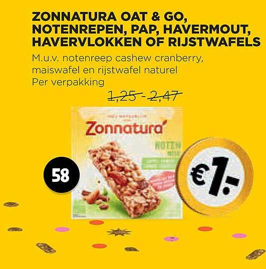 Jumbo Zonnatura Oat & Go, Notenrepen, Pap, Havermout, Havervlokken Of Rijstwafels