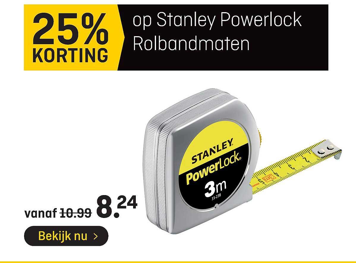 Hubo Op Stanley Powerlock Rolbandmaten 25% Korting