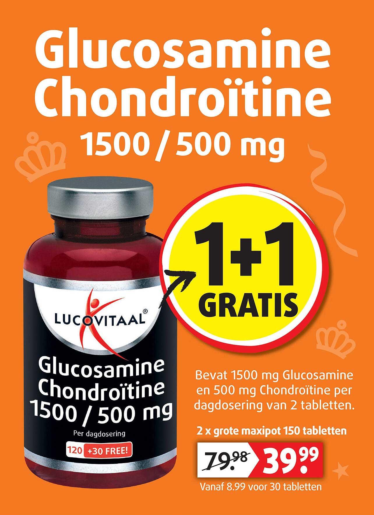 Lucovitaal Lucovitaal Glucosamine Chondroïtine 1500-500 Mg 1+1 Gratis