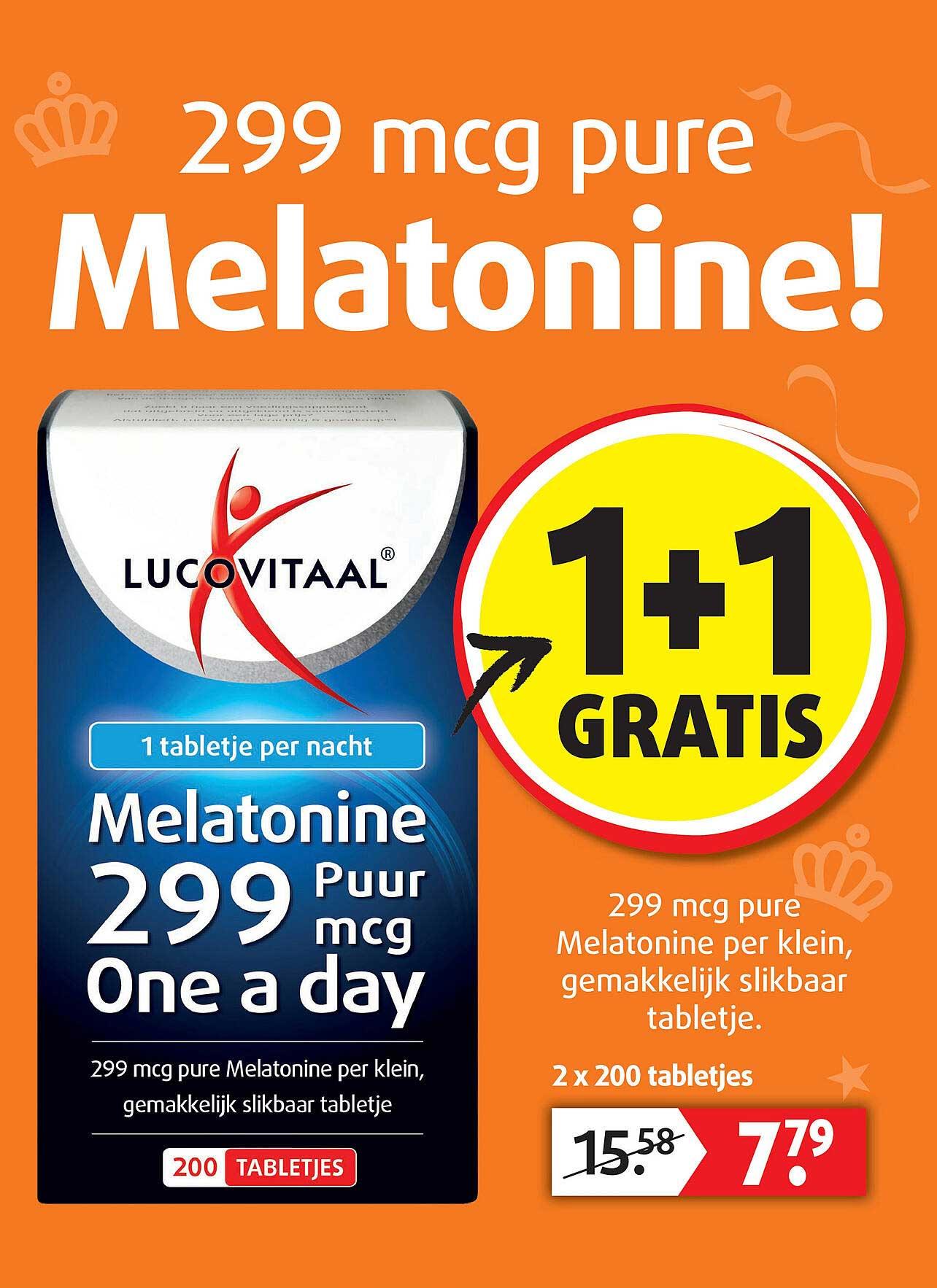 Lucovitaal Lucovitaal Melatonine 299 Puur Mcg One A Day 1+1 Gratis
