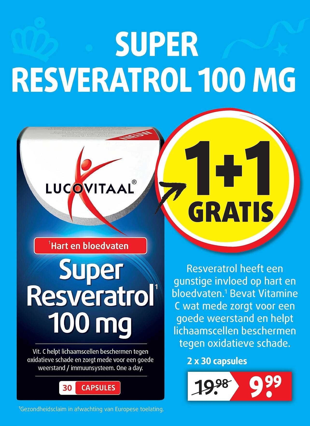 Lucovitaal Lucovitaal Super Resveratrol 100 Mg 1+1 Gratis