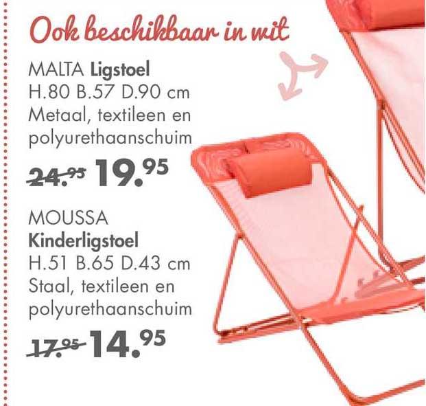 CASA Malta Ligstoel H.80 B.57 D.90 Cm Of Moussa Kinderligstoel H.51 B.65 D.43 Cm