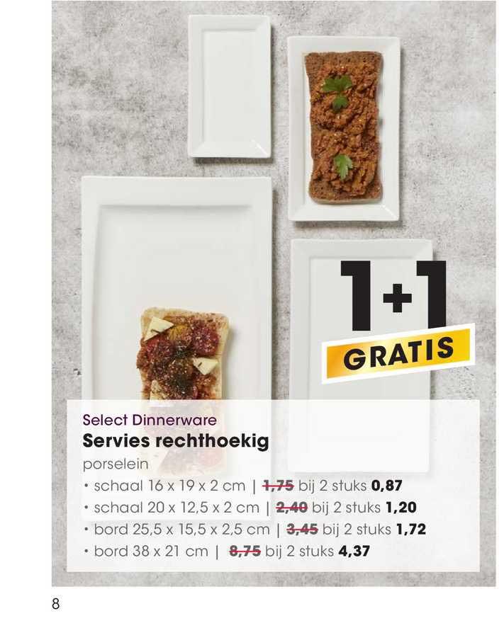 HANOS Select Dinnerware Servies Rechthoekig 1+1 Gratis
