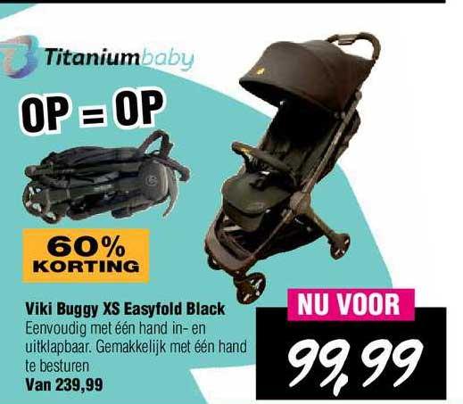 Van Asten Viki Buggy XS Easyfold Black Kinderwagen 60% Korting