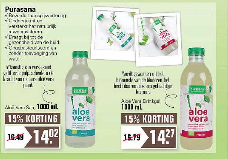 De Online Drogist Purasana Aloë Vera Sap Of Aloë Vera Drinkgel 15% Korting