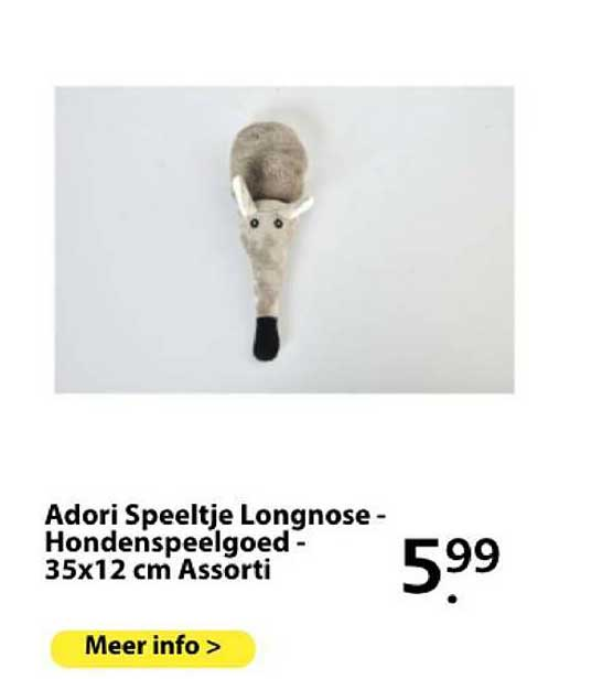 Boerenbond Adori Speeltje Longnose - Hondenspeelgoed - 35x12 Cm Assorti