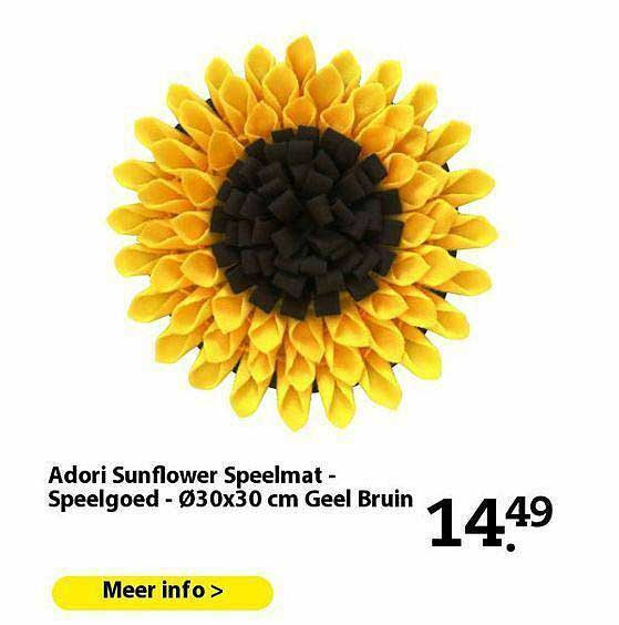 Pets Place Adori Sunflower Speelmat - Speelgoed - Ø30x30 Cm Geel Bruin