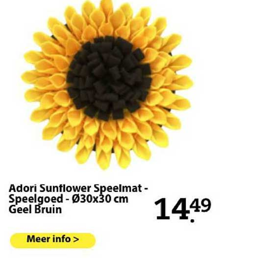 Boerenbond Adori Sunflower Speelmat - Speelgoed - Ø30x30 Cm Geel Bruin