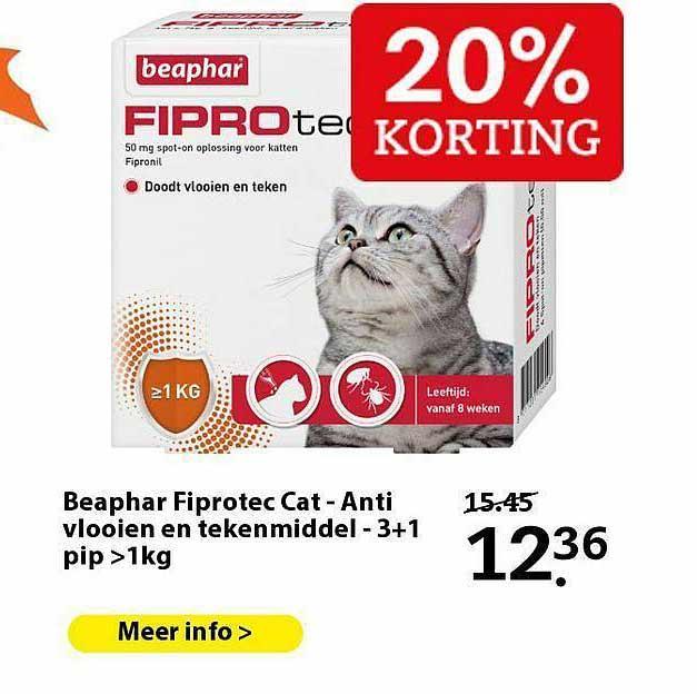 Pets Place Beaphar Fiprotec Cat - Anti Vlooien En Tekenmiddel - 3+1 Pip >1Kg 20% Korting