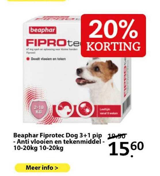 Boerenbond Beaphar Fiprotec Dog 3+1 Pip - Anto Vlooien En Tekenmiddel - 10-20Kg 10-20Kg 20% Korting