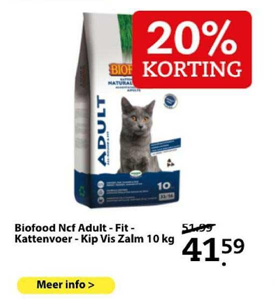Boerenbond Biofood Ncf Adult - Fit - Kattenvoer - Kip Vis Zalm 10 Kg 20% Korting