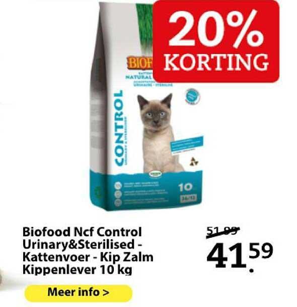 Boerenbond Biofood Ncf Control Urinary&Sterilised - Kattenvoer - Kip Zalm Kippenlever 10 Kg 20% Korting