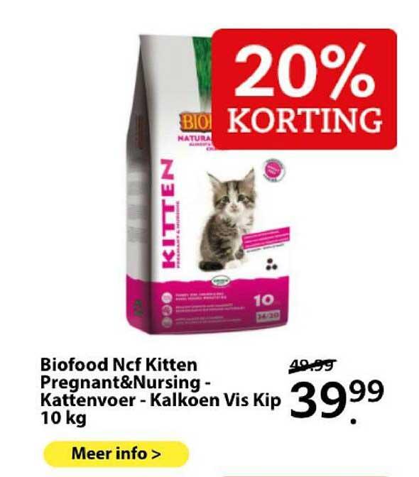 Boerenbond Biofood Ncf Kitten Pregnant&Nursing - Kattenvoer - Kalkoen Vis Kip 10 Kg 20% Korting