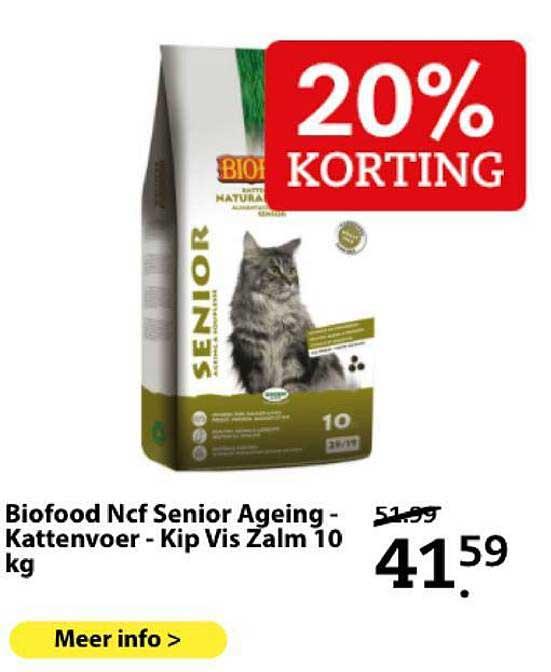 Boerenbond Biofood Ncf Senior Ageing - Kattenvoer - Kip Vis Zalm 10 Kg 20% Korting