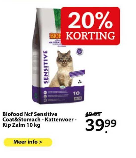 Boerenbond Biofood Ncf Sensitive Coat&Stomach - Kattenver - Kip Zalm 10 Kg 20% Korting