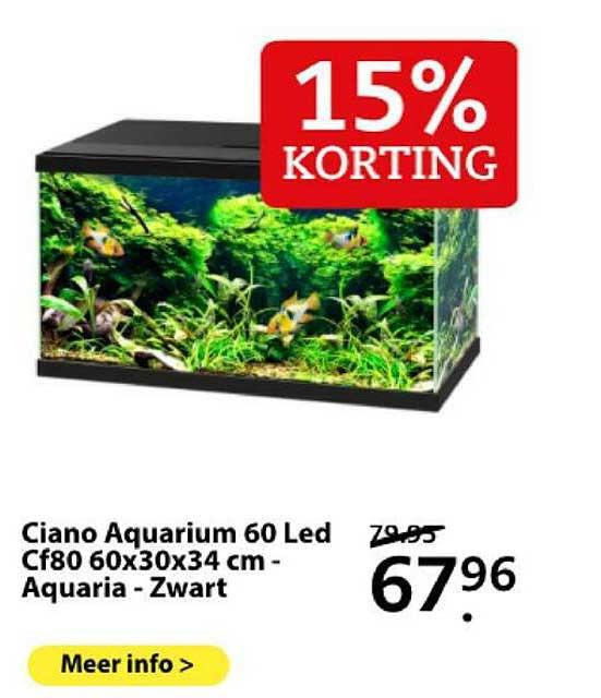 Boerenbond Ciano Aquarium 60 Led Cf80 60x30x34 Cm - Aquaria - Zwart 15% Korting