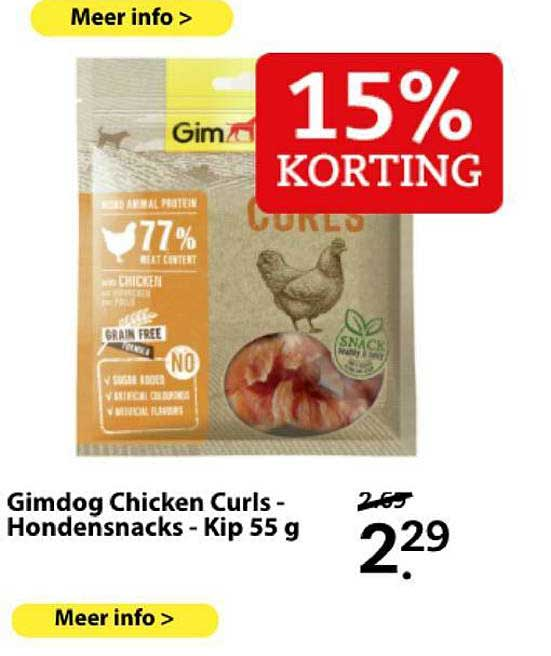 Boerenbond Gimdog Chicken Curls - Hondensnacks - Kip 55 G 15% Korting