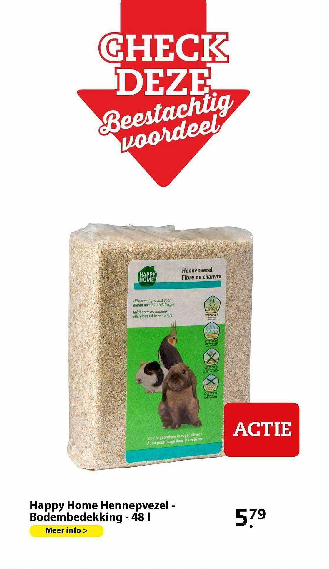 Pets Place Happy Home Hennepvezel - Bodembedekking - 48 L