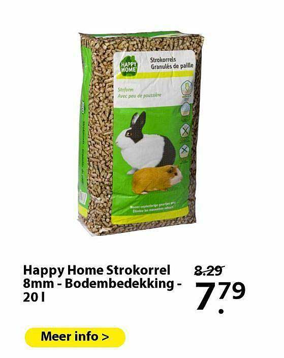 Pets Place Happy Home Strokorrel 8mm - Bodembedekking - 20 L
