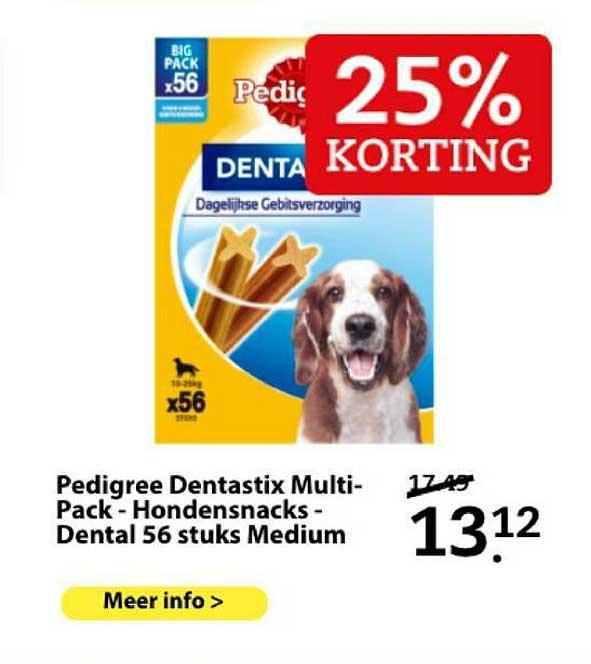 Boerenbond Pedigree Dentastix Multi-Pack - Hondensnacks - Dental 56 Stuks Medium 25% Korting