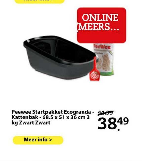 Boerenbond Peewee Startpakket Ecogranda - Kattenbak - 68.5 X 51 X 36 Cm 3 Kg Zwart Zwart