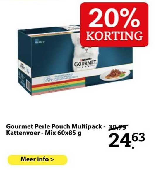 Boerenbond Purina Gourmet Perle Pouch Mutlipack - Kattenvoer - Mix 60x85 G 20% Korting