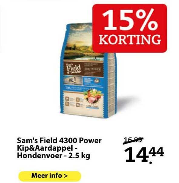 Boerenbond Sam's Field 4300 Power Kip&Aardappel - Hondenvoer - 2.5 Kg