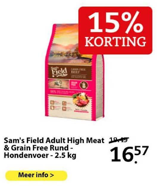 Boerenbond Sam's Field Adult High Meat & Grain Free Rund - Hondenvoer - 2.5 Kg 15% Korting