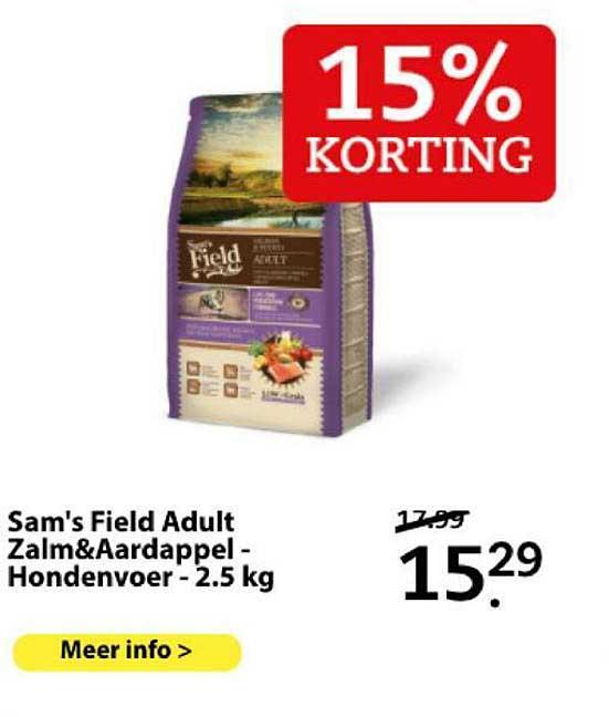 Boerenbond Sam's Field Adult Zalm&Aardappel - Hondenvoer - 2.5 Kg 15% Korting