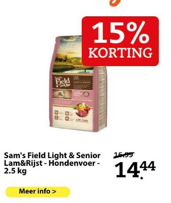 Boerenbond Sam's Field Light & Senior Lam&Rijst - Hondervoer 2.5 Kg 15% Korting