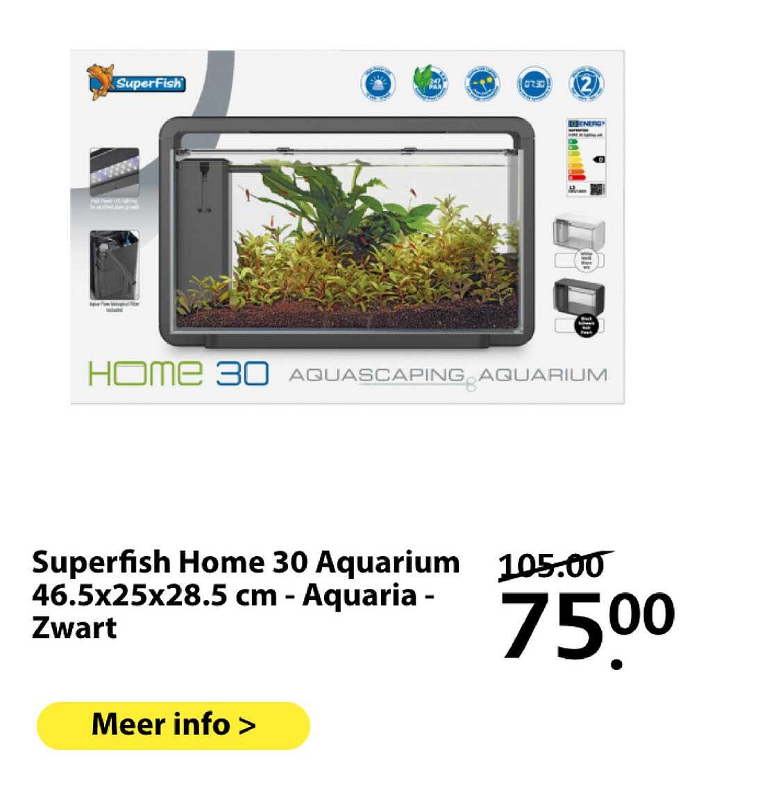 Boerenbond Superfish Home 30 Aquarium 46.5x25x28.5 Cm - Aquaria - Zwart