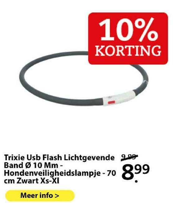 Boerenbond Trixie Usb Flash Lichtgevende And Band Ø 10 Mm - Hondenveiligheidslampje - 70 Cm Zwart XS-XL