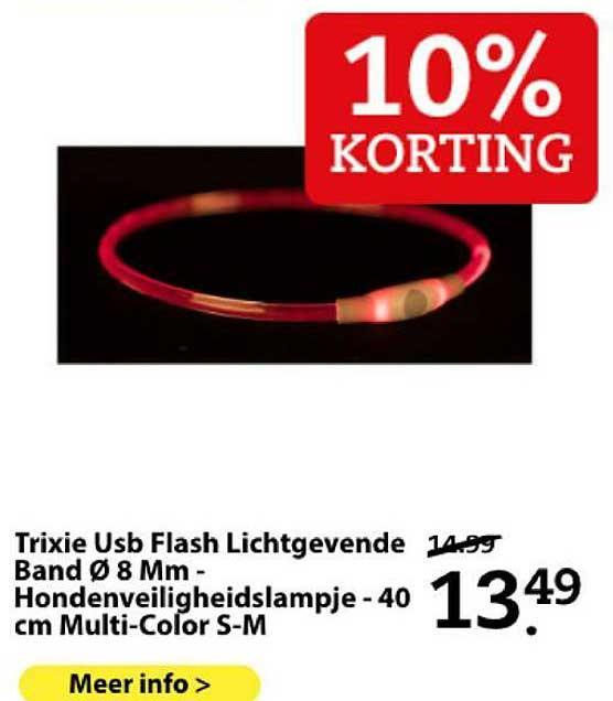 Boerenbond Trixie Usb Flash Lichtgevende Band Ø 8 Mm - Hondenveiligheidslampje - 40 Cm Multi-Color S-M 10% Korting