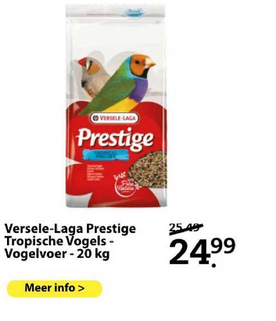 Boerenbond Versele-Laga Prestige Tropische Vogels - Vogelvoer - 20 Kg