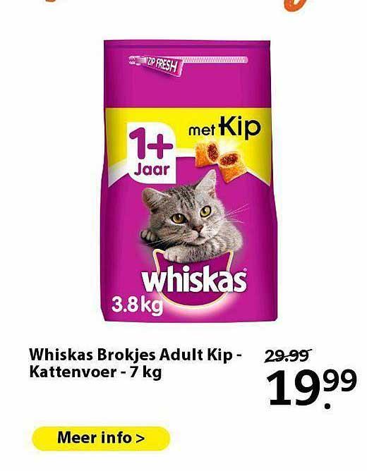 Pets Place Whiskas Brokejes Adult Kip - Kattenvoer 7 Kg