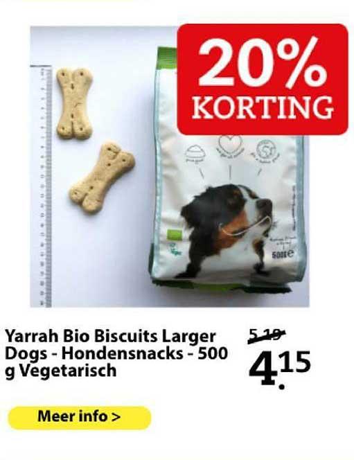 Boerenbond Yarrah Bio Biscuits Larger Dogs - Hondensnacks - 500 G Vegetarisch 20% Korting