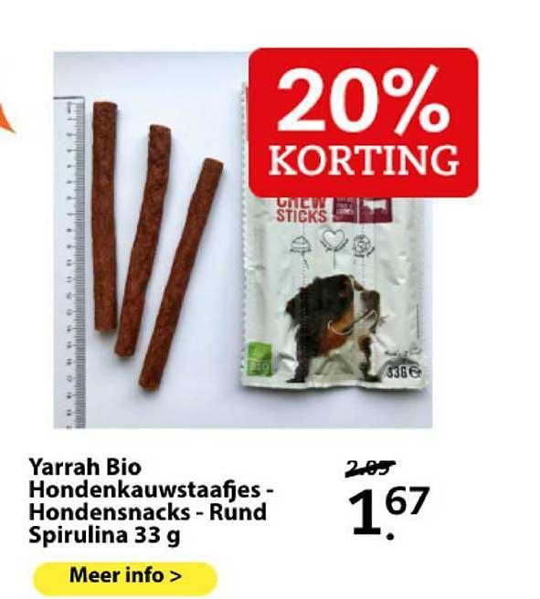 Boerenbond Yarrah Bio Hondenkauwstaafjes - Hondensnacks - Rund Spirulina 33 G