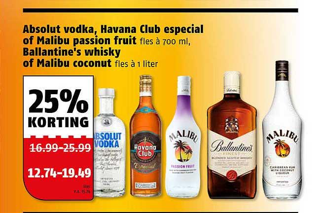 Poiesz Absolut Vodka, Havana Club Especial Of Malibu Passion Fruit, Ballantine's Whisky Of Malibu Coconut 25% Korting