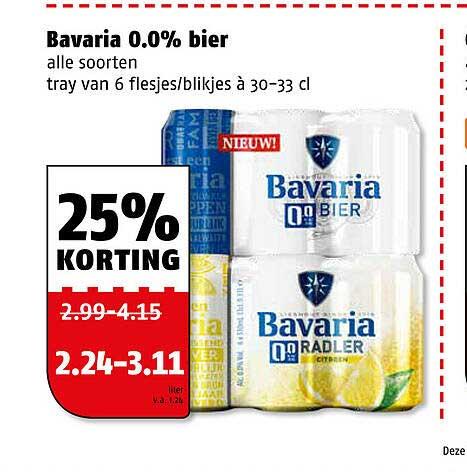 Poiesz Bavaria 0.0% Bier 25% Korting