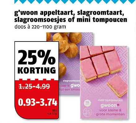 Poiesz G'woon Appeltaart, Slagroomtaart, Slagroomsoesjes Of Mini Tompoucen 25% Korting