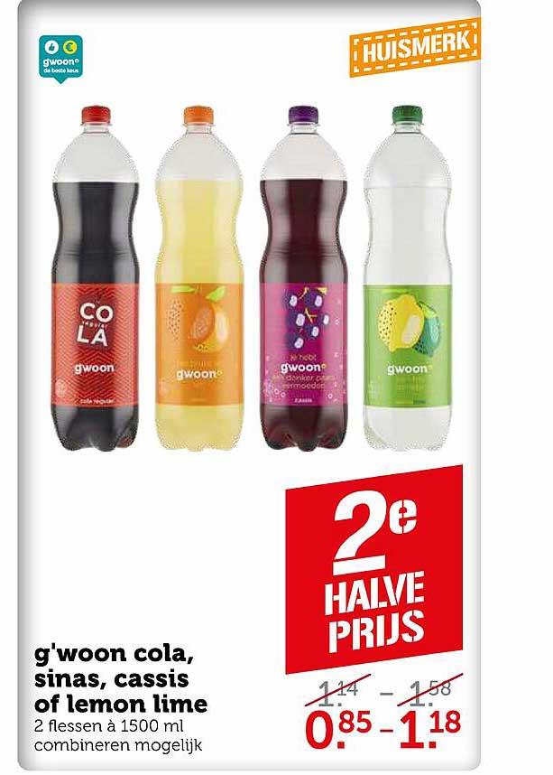 Coop G'woon Cola, Sinas, Cassis Of Lemon Lime