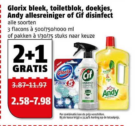 Poiesz Glorix Bleek, Toiletblok, Doekjes, Andy Allesreiniger Of Cif Disinfect