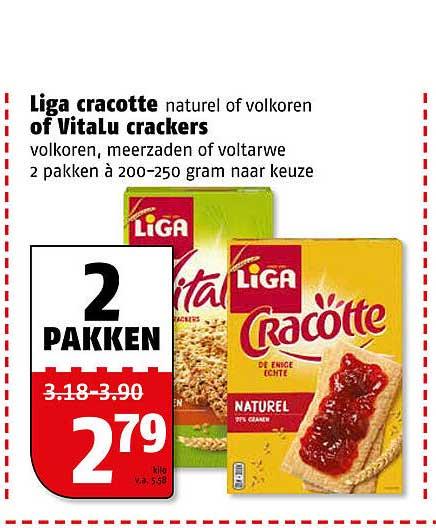 Poiesz Liga Cracotte Naturel Of Volkoren Of Vitalu Crackers Volkoren, Meerzaden Of Voltarwe