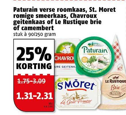 Poiesz Paturain Verse Roomkaas, St. Moret Romige Smeerkaas, Chavroux Geitenkaas Of Le Rustique Brie Of Camembert