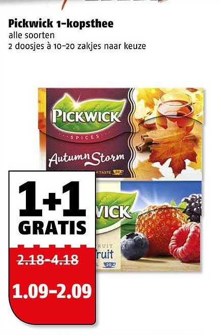 Poiesz Pickwick 1-Kopsthee 1+1 Gratis