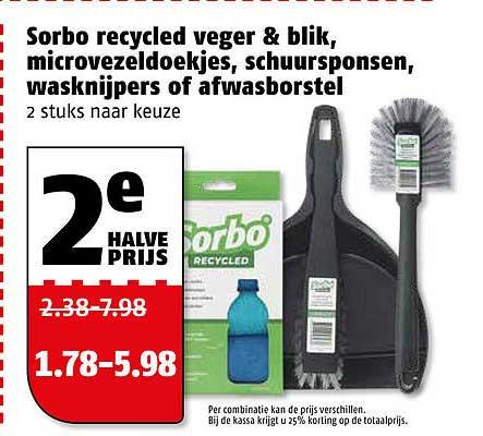 Poiesz Sorbo Recycled Veger & Blik, Microvezeldoekjes, Schuursponsen, Wasknijpers Of Afwasborstel